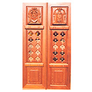 Elegant Floral Carving Temple Door