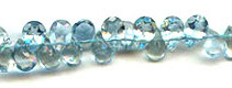 Aquamarine Side Drilled Drop Faceted Stones