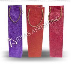 Assorted Wine Bags in Metallic Leather Textured Paper
