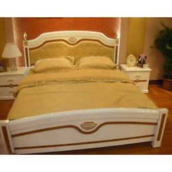 Bedroom Furnishings - Wooden Lamp, Double Bed With Side Table