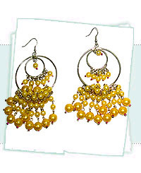yellow glass beaded earrings