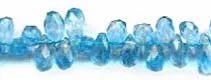 Blue Quartz Side Drilled Drop Faceted Stone