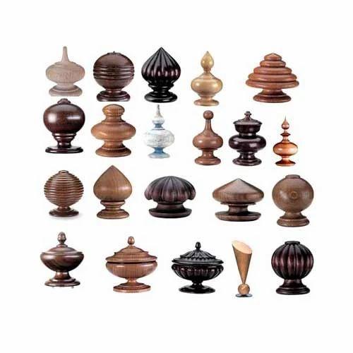Wood Finials, Brass Finials, Decorative Wood Finials, Decorative Brass  Finials, India.