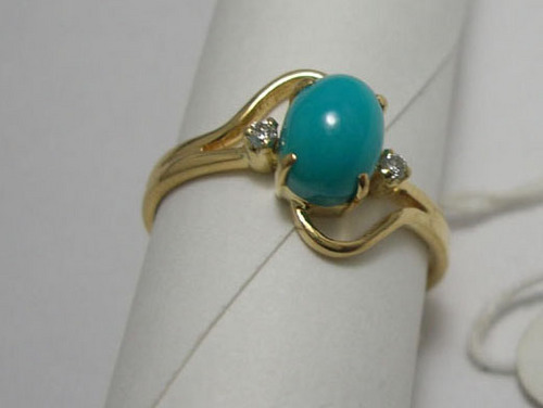 DIAMOND & PRECIOUS STONE RINGS Turquoise Gold Ring Travel