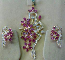 Gemstone pendant sets in jaipur rajasthan manufacturers diamond ruby set aloadofball Image collections