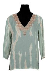 Georgette Hand Embroiderd Tie Dye Tunic Top